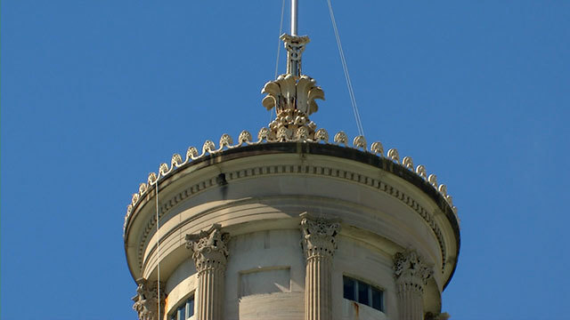 State capitol scaffolding in place for year-long cupola facelift