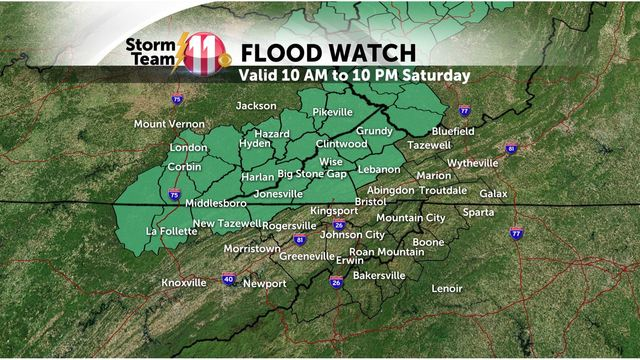 Mark's Weather Blog: Flood Watch for Saturday - Warming up next week!
