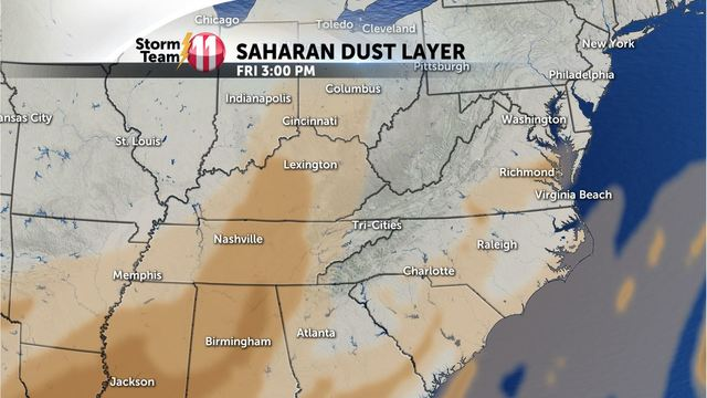 Saharan Dust in Tennessee? It's a possibility late next week!