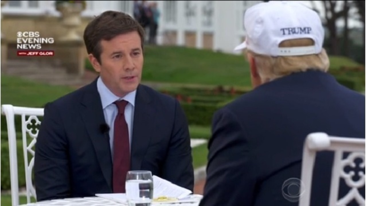 Image result for images of Trump interview with CBS Jeff Glor in Scotland