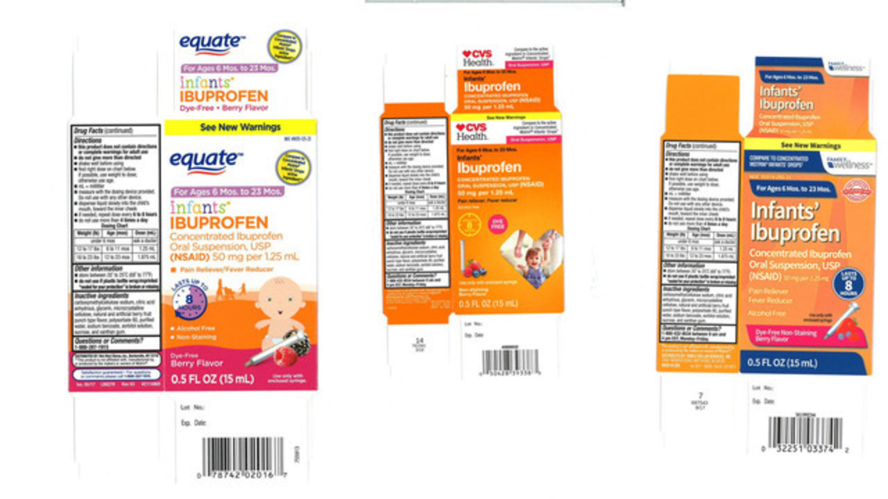 Infants\' ibuprofen sold at Walmart, CVS, Family Dollar recalled